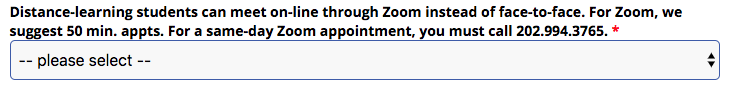 ZOOM Appointment Option